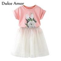 Dulce Amor Girls Clothes Set 2018 Summer Short Sleeve Print Rabbit Kids T Shirt Lace Skirt