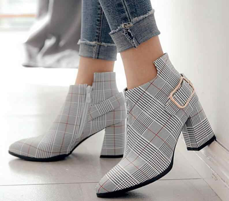 ladies chaussure women luxury grid leather shoes woman zapatos mujer sapato  ankle boots chunky high heels d5ffb2855ad7