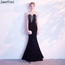 79b6338103c22 JaneVini Luxury Navy Blue Mermaid Mother of The Bride Dresses Scoop Neck  Beading Illusion Back Velvet Evening Gowns Floor Length