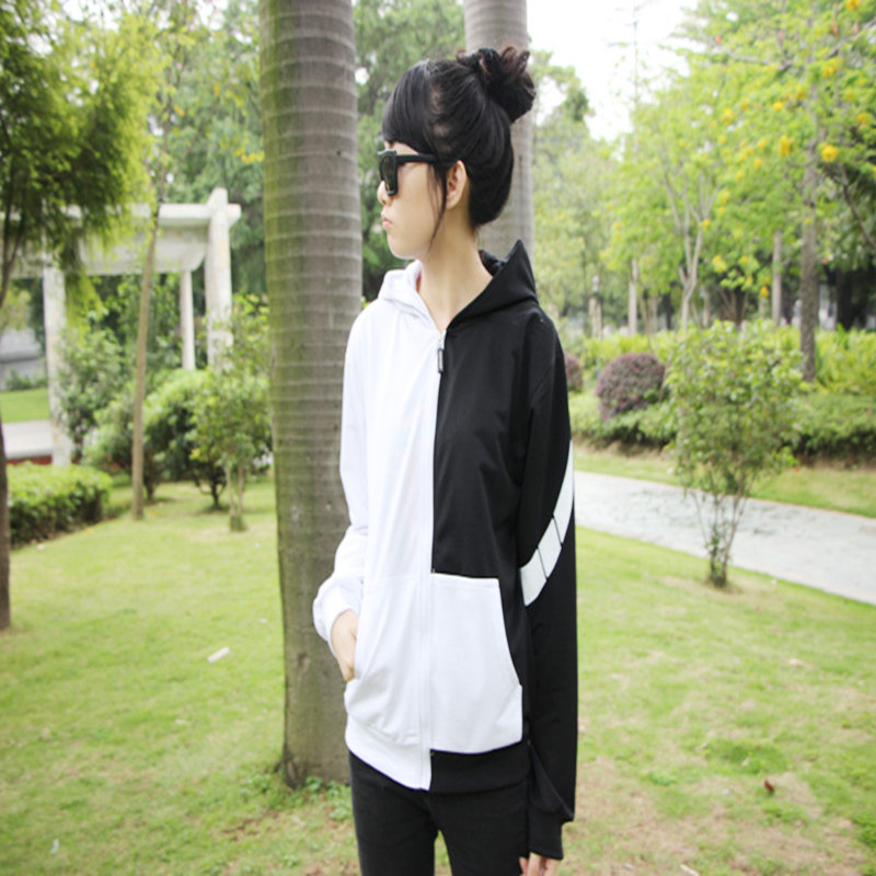 Casual fashion Slim hooded coat black white bear cosplay costumes women winter Sweatshirts jacket