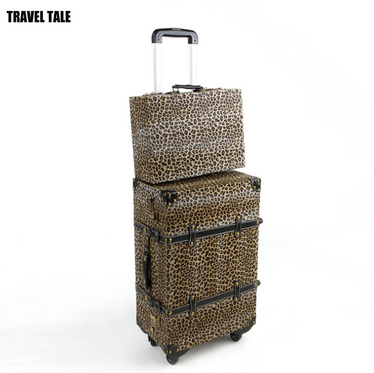 "TRAVEL TALE 20""24""14 inch PU vintage suitcase rolling luggage set trolley travel bag leopard print spinner"
