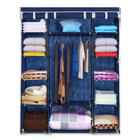 iKayaa Fabric Closet Wardrobe Cabinet Clothes Storage Organizer Garment Clothing Hanger Rack 13 Storage Shelves 1 Hanging Rod