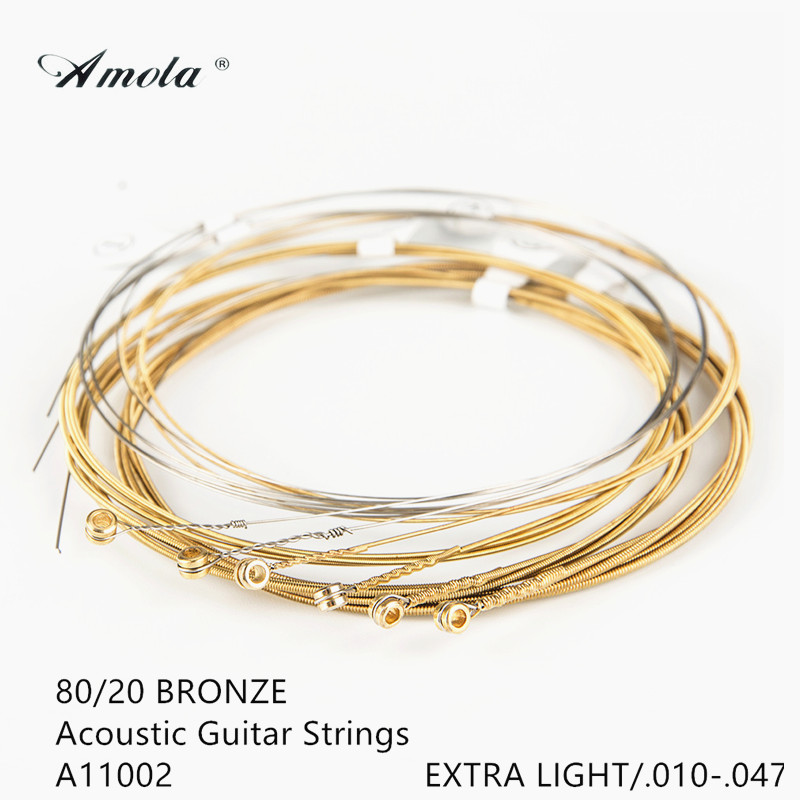 Amola Acoustic Guitar Strings A1002 Guitar Strings 010-047 Musical Instrument Guitar Parts Wound Guitar Strings String 1 Sets amola acoustic guitar strings set 010 012 011 pure copper steel 010 047 acoustic wound guitar 1 6th string musical instruments