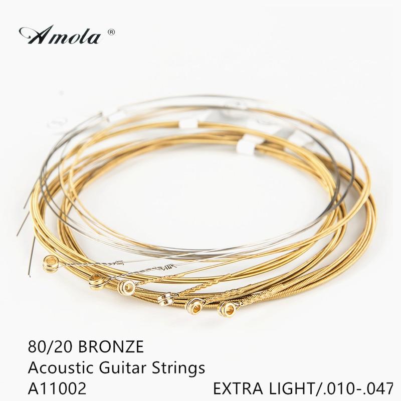 все цены на  Amola Acoustic Guitar Strings A1002 Guitar Strings 010-047 Musical Instrument Guitar Parts Wound Guitar Strings String 1 Sets  онлайн