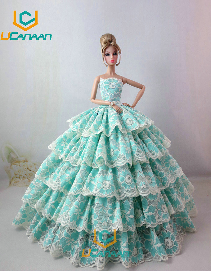 Not Include the Doll ! Ucanaan 1 PC Celebration Wedding ceremony Gown For Barbie Doll Restricted Assortment Elegant Handmade Gown Garments Presents
