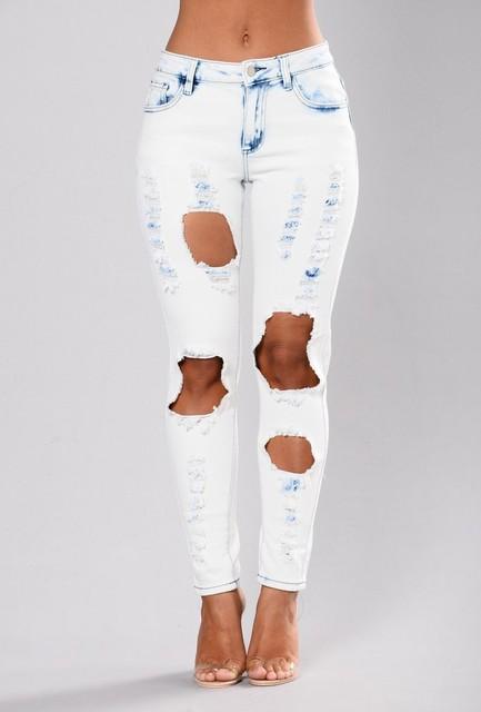 Women's White Ripped Skinny Denim Jeans