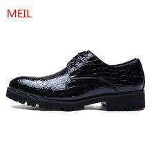 8d4826837 Meil лакированные кожаные туфли для мужчин на шнуровке кожи крокодила  Оксфорд модные роскошные черные мужские Туфли