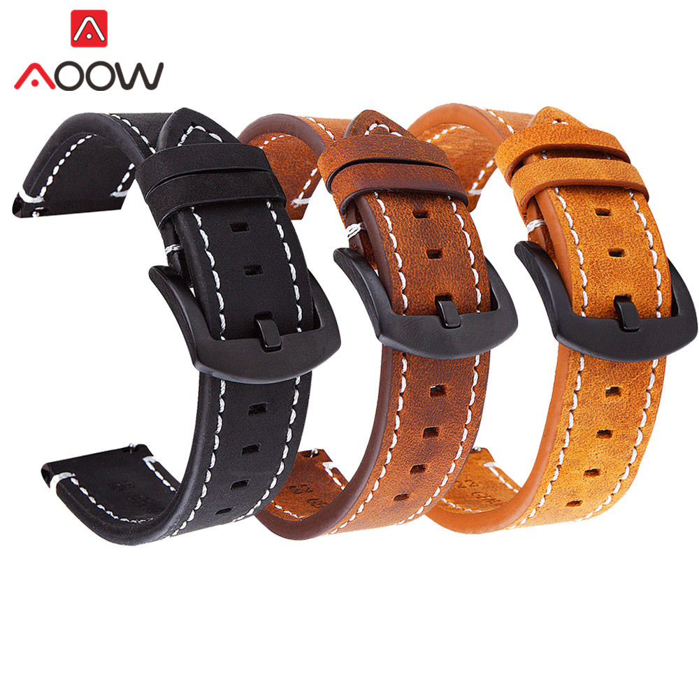Brown Genuine Leather Watchband 18mm 20mm 22mm For Samsung Galaxy 42mm 46mm Gear S2 S3 Bracelet Band Strap For Huawei Watch