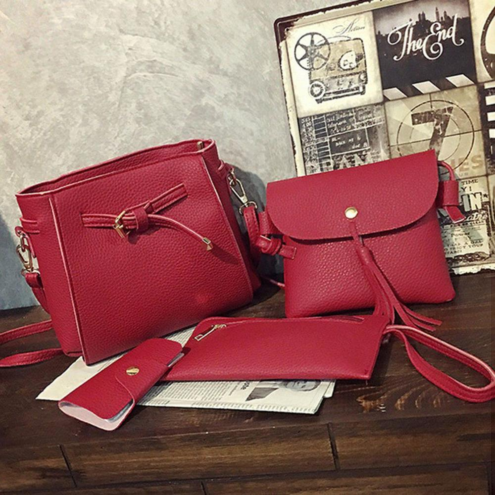 1a42522f20 4 in 1 Bag Set PU Leather Fashion Tote Bag Handbags Crossbody Sling Bag Set  Composite Shoulder Bag Women.