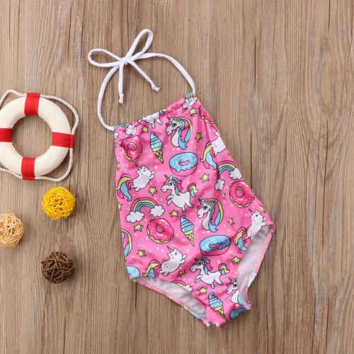 786ac8a44433c ... 2018 New Cute Kids Baby Girl Unicorn Pink One-Piece Bikini Halter Neck  Swimwear Swimsuit ...