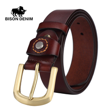 BISON DENIM men luxury belts 2016 100% top Cowboy Genuine Leather belts for men gold Pin Buckle punk rock belts for girls W71020