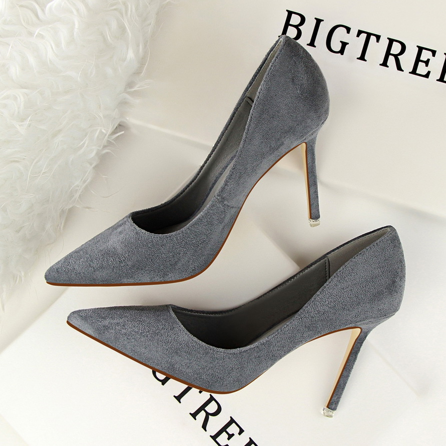 Spring Autumn fashion Simple women pumps 9 CM Fine high heels Shallow mouth Pointed Suede Sexy Professional OL women's shoes bigtree spring autumn silk women pumps shallow mouth pointed shiny rhinestones 10 5 cm fine high heels shoes