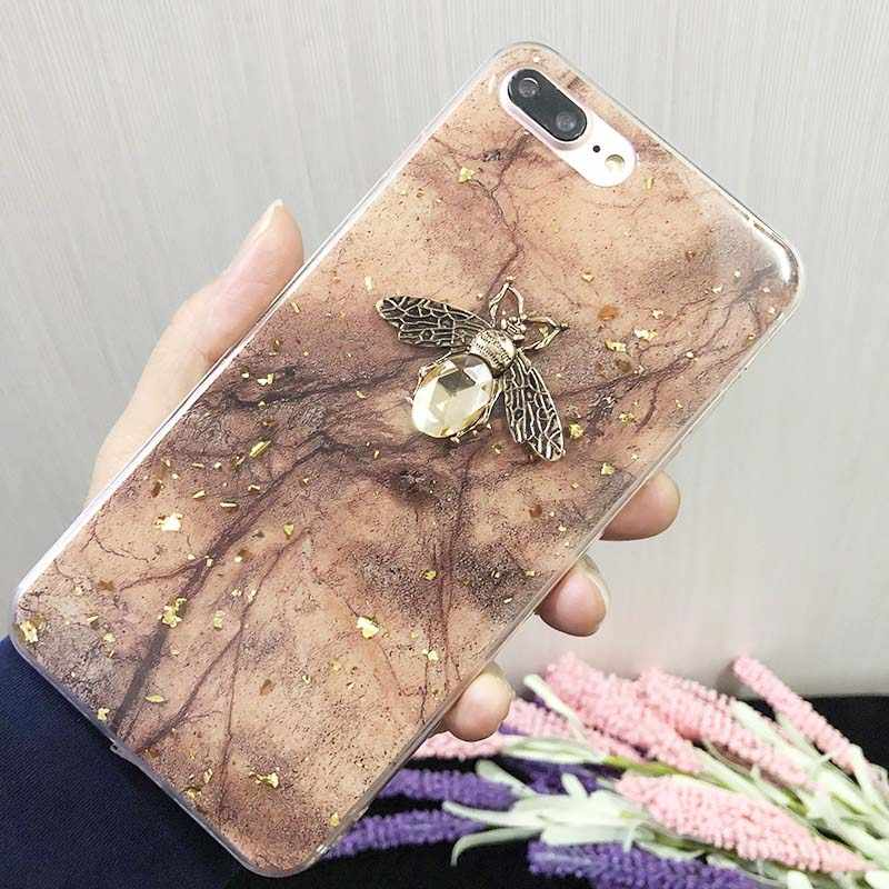 Gold Folies Marmer Glitter Phone Case Voor iPhone X 6 6S 7 8 Plus Vintage Bee Back Cover Voor iPhone XS Max XR X Soft Cover Fundas