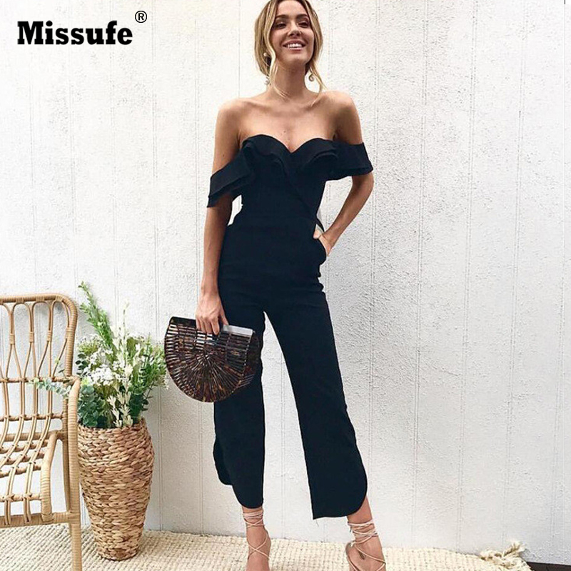 Missufe Sexy Off Shoulder Split Wide Leg Rompers For Women Slim Waist Party Overalls 2018 New Ruffles Strap White Black Jumpsuit
