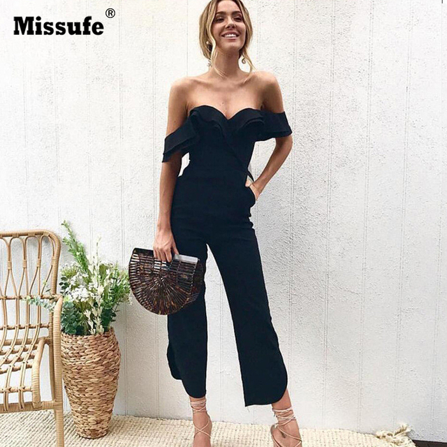 ee5d783ab8e Missufe Sexy Off Shoulder Split Wide Leg Rompers For Women Slim Waist Party  Overalls 2018 New Ruffles Strap White Black Jumpsuit