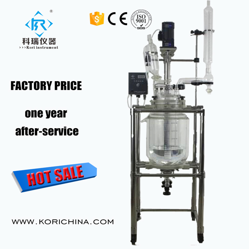 CE Confirmed Lab equipment Chemical reaction Biodiesel double Jacketed Glass Reactor stirring motor driven single deck chemical reactor 20l glass reaction vessel with water bath 220v 110v with reflux flask