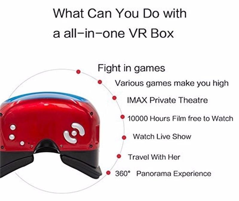 Casque 3D VR VR immersif 3D lunettes casque de réalité virtuelle avec WIFI + BT RK3126 bras Cortex A7 Quad Core