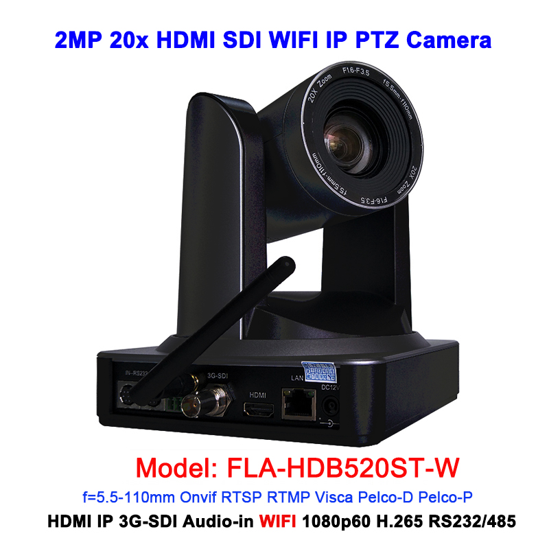 Full hd ip camera wifi ptz video conference 20x optical zoom black color with 3G SDI HDMI Port