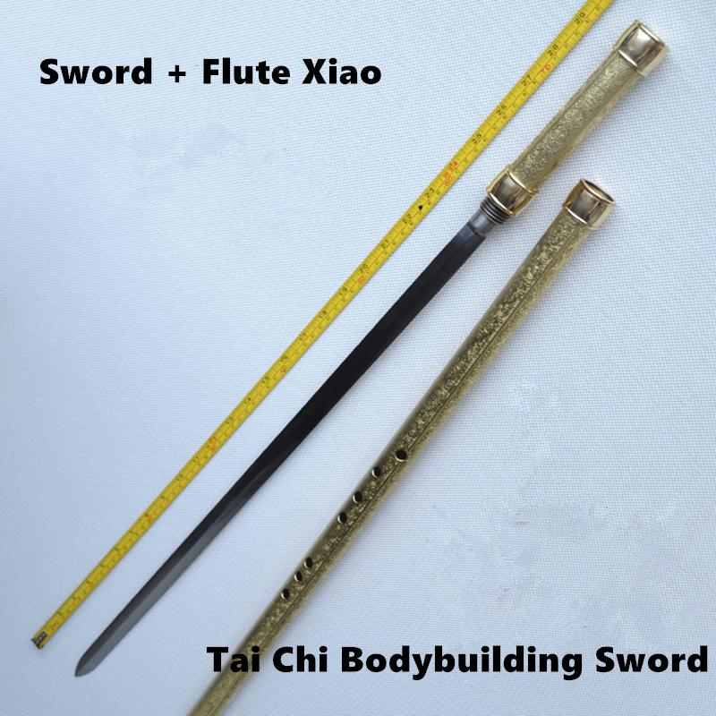 Laiton métal flûte Xiao + épée F clé Tai Chi musculation épée Flauta Arts martiaux épée transversale flûte auto-défense arme