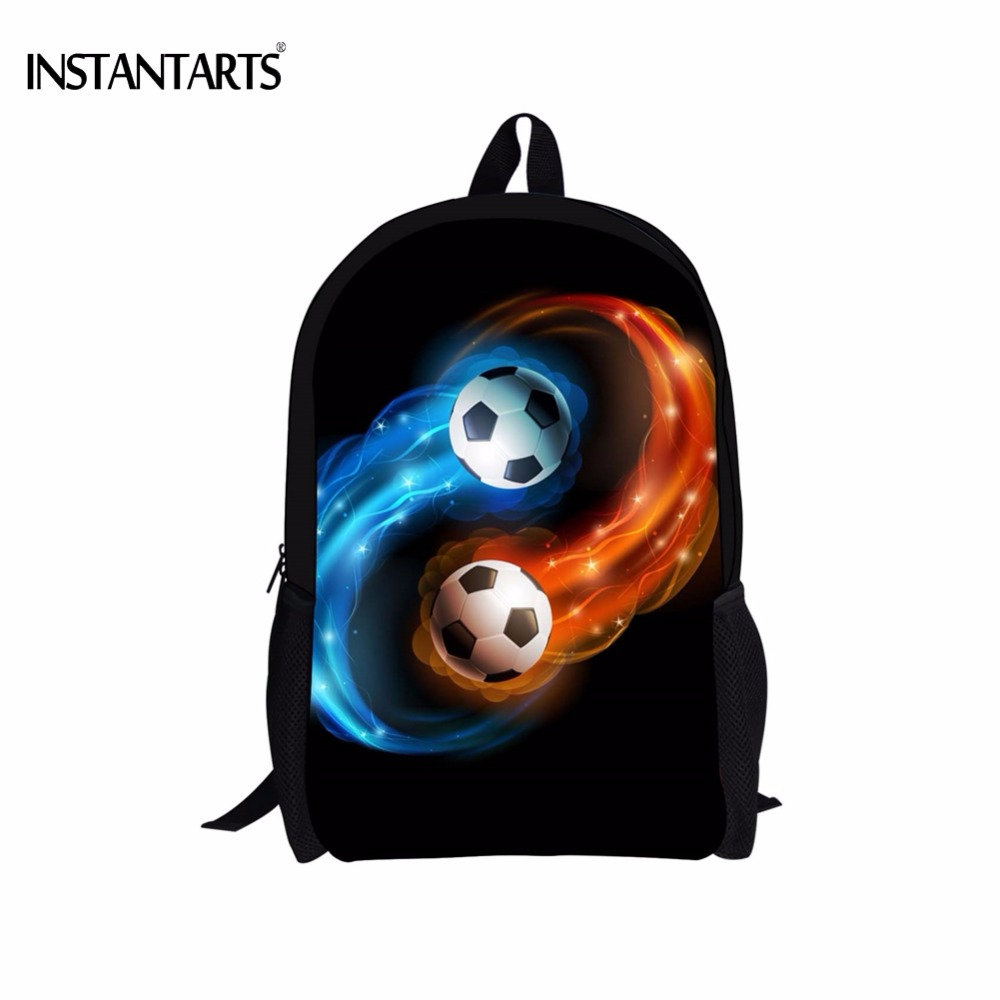 INSTANTARTS Cool 3D Galaxy Universe Soccerly Foot Ball Printing Men Backpacks Casual Laptop Rucksacks Daily Male Travel Daypacks