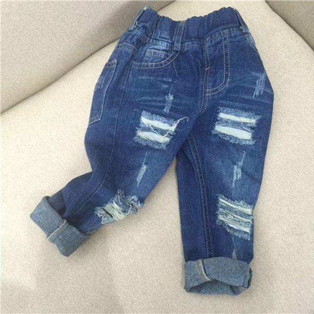 Spring Autumn Girls Ripped Jeans Pants Boys Casual Blue Denim Pants Enfant Garcon Jeans Harem Casual Trousers TZ143