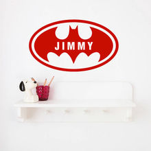 Batman Custom Name Bat Boys Room Decoration Personalized Wall Sticker Vinyl Art Design Baby Home Decor for Kids W28