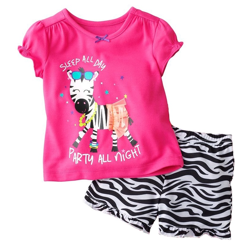 Hooyi Summer Baby Girls Clothes Set Pink Zebra Children 2-Pieces Suits Toddler Girls Clothing Fashion Suit For Boy 100% Cotton baby set baby boy clothes 2 pieces