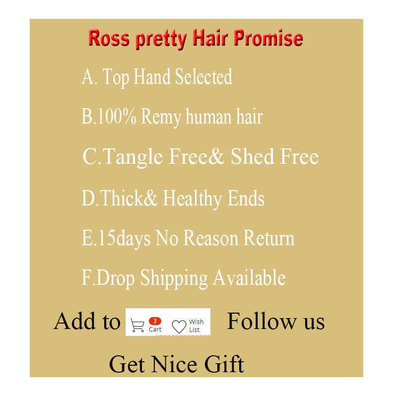 Ross Oldukça Remy Derin gölgeli brezilyalı saçı Örgü Demetleri Ile Kapatma Ön Koparıp doğal insan saçı Dantel Kapatma ile Bebek Saç