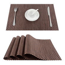 Top Finel 2016 Set of 4 PVC Cross Weave Placemats for Dining Table Runner Linen Place Mat in Kitchen Accessories Cup Coaster Pad