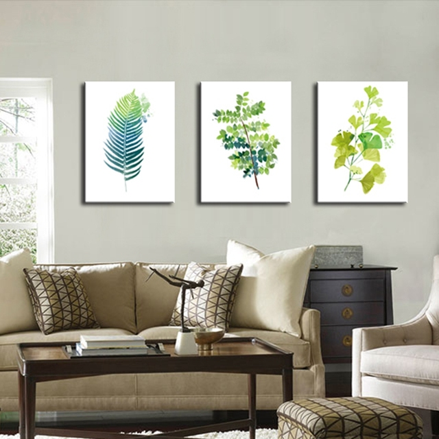 Drop shipping bathroom pictures nordic poster art green leaves wall art canvas prints office painting for