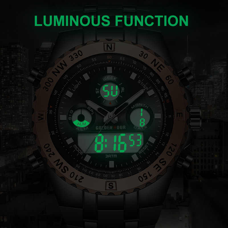 GOLDENHOUR אנלוגי דיגיטלי גברים שעון יוקרה למעלה מותג כחול מקרה שבוע תאריך הכרונוגרף קוורץ שעוני יד אופנה ספורט שעון