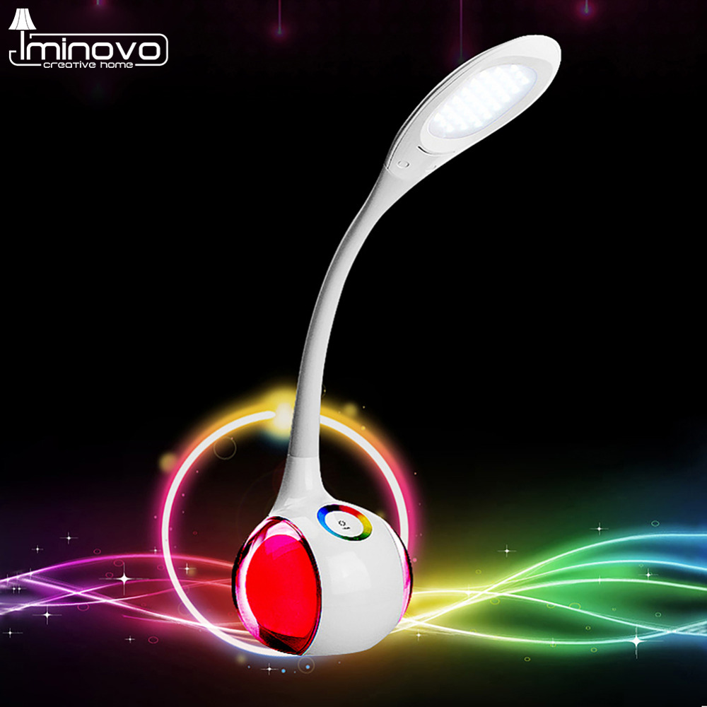 IMINOVO Touch Sensor Colorful Light Table Lamp Reading Study Work Table Light Three Gear Stepless Dimming LED Book Lights three dimensional 3d visual reading lights wood acrylic clear small lamp button type led stereo night light folding book lights