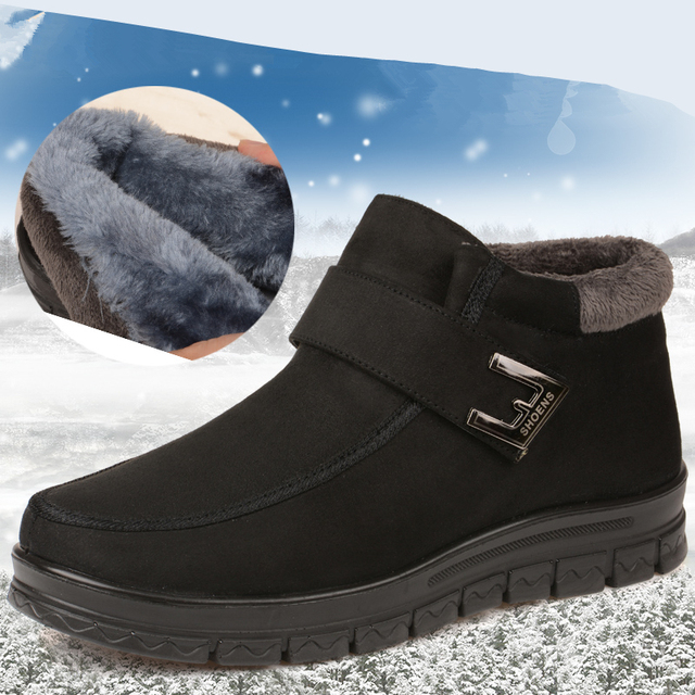 2016 Invierno clásico Chino de los hombres de algodón, además de terciopelo antideslizante warm cotton men boots padre de mediana edad BABA nieve botas