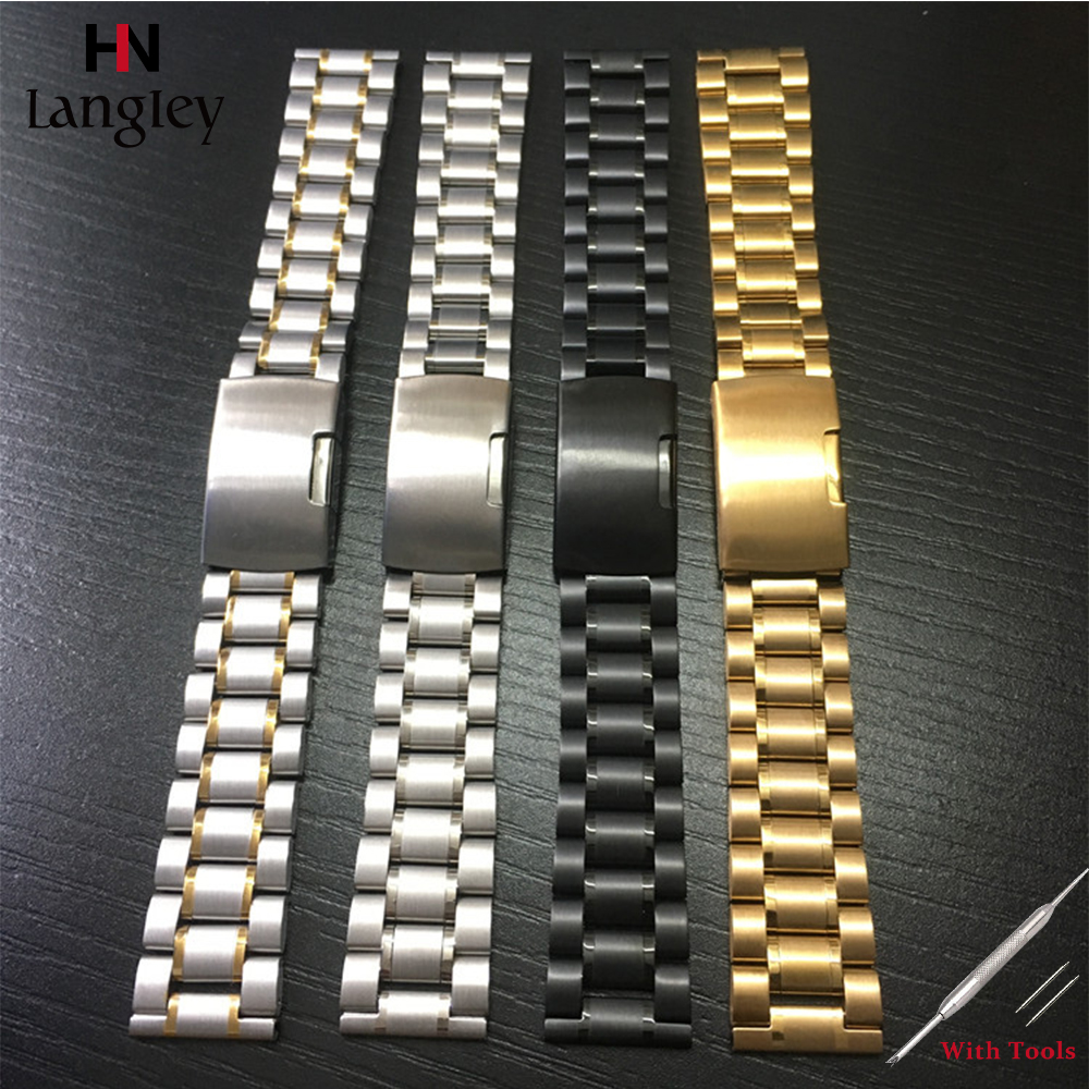 Stainless Steel Wristwatch <font><b>Band</b></font> For Men <font><b>Women</b></font> <font><b>Watches</b></font> <font><b>Bands</b></font> Straps 14mm 16mm 18mm 19mm <font><b>20mm</b></font> 21mm 22mm 24mm 26mm Universal strap image