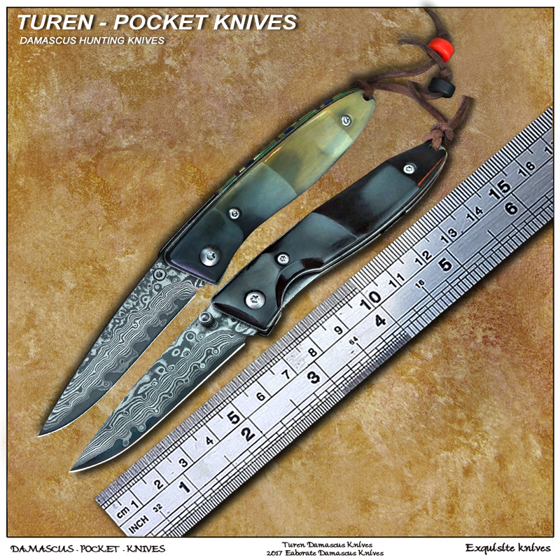 TUREN Pocket knife 58HRC Handmade Damascus outdoor pocket knife wild cow s horn handle with vegetable