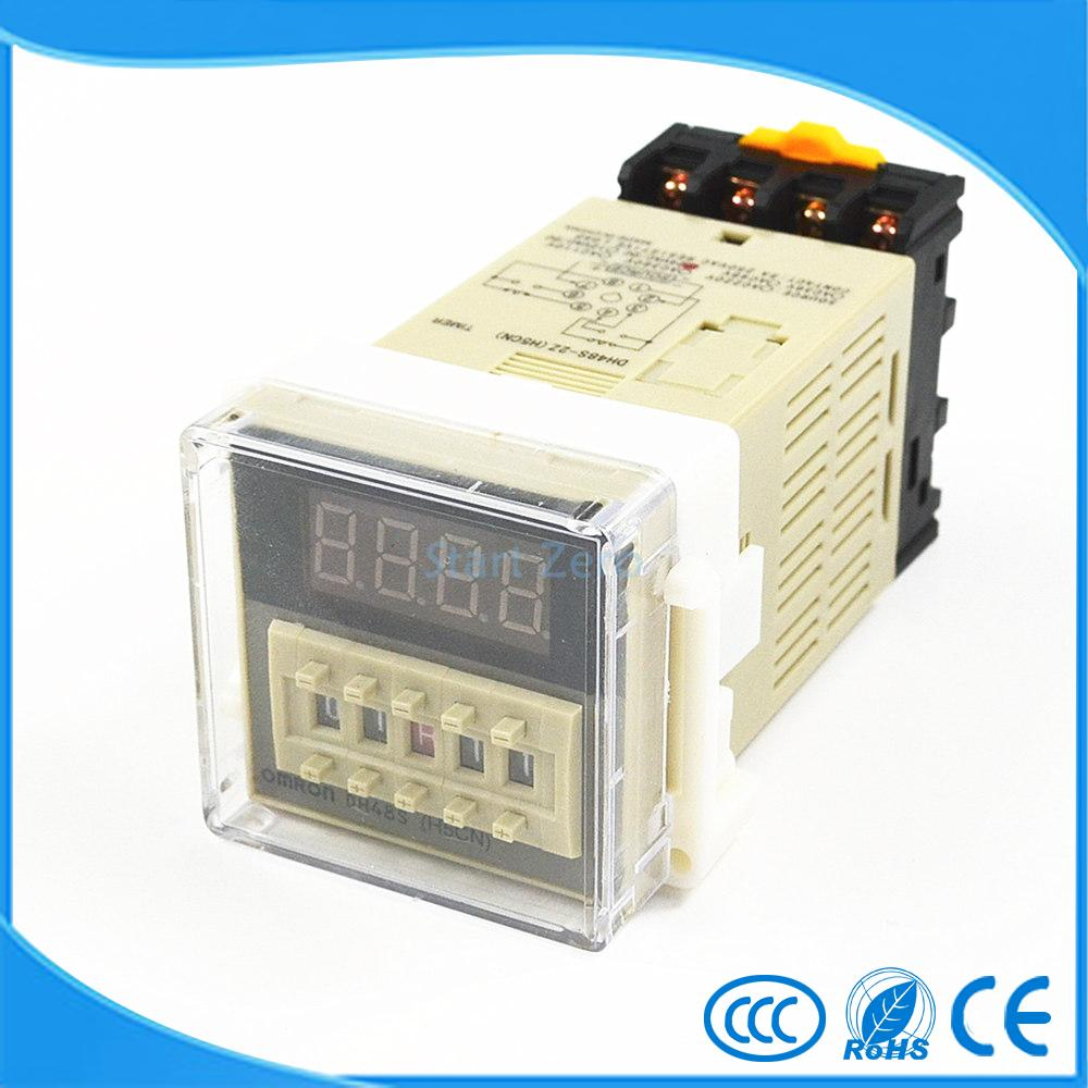 DH48S-2Z H5CN 0.01s-99H99M Digital Timer Relay On Delay 8 Pins SPDT 2 Groups Contacts Delay DC12V DC24V AC110V AC220V dc 12v led display digital delay timer control switch module plc automation new