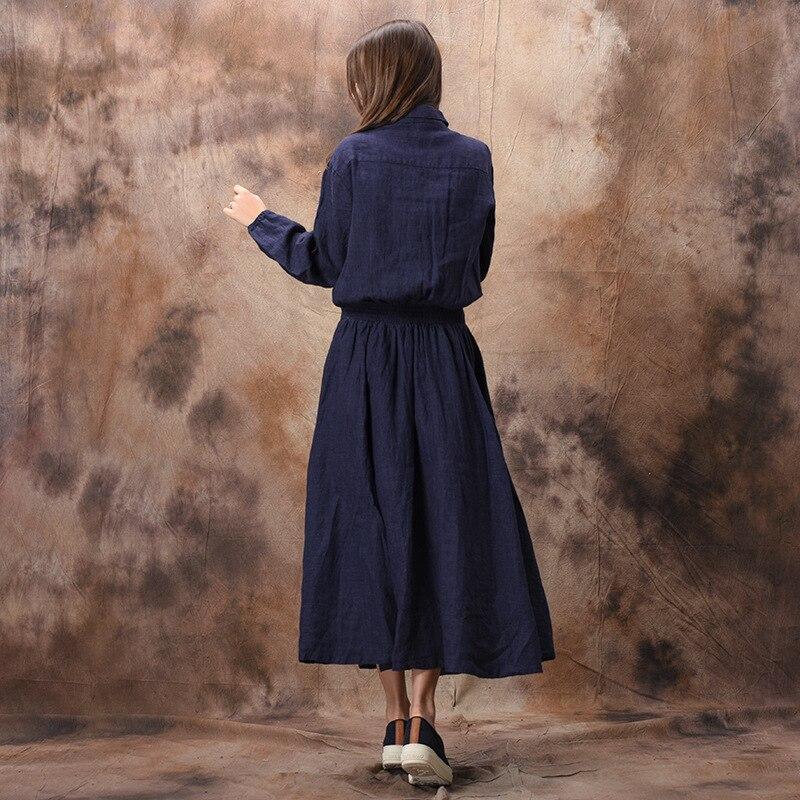 Blue Johnature Original Dark Qualité Blue Haute En Lin light Chemise Solide Printemps 2019 Vêtements Robe Couleur Ceinture Vintage Doux Femmes Coton rrRqg