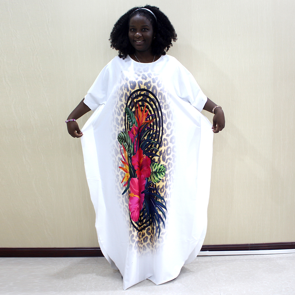 Fashion African Dashiki Long Dresses For Women Short Sleeve Casual Print African Clothes
