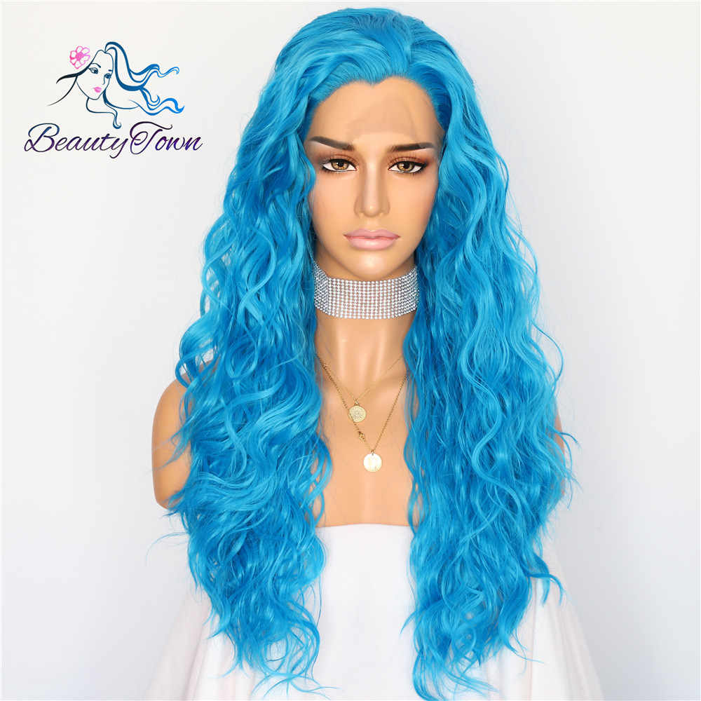 BeautyTown Blue Color Natural Water Wave Masquerade Women Makeup Wedding Party Cosplay Halloween Synthetic Lace Front