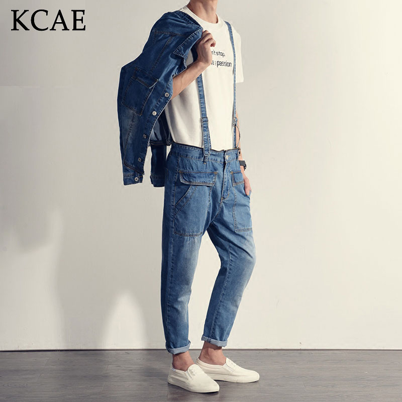 Mens Jumpsuit Denim Overalls Long Sleeves Men Baggy Cargo Pants with Suspenders Denim Bib Overalls Shorts for Men купить