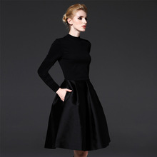 Women Clothes Dresses Autumn Winter New Fine Brand Europe America Self Cultivation High End Thin Black Big Size Fashion Dress