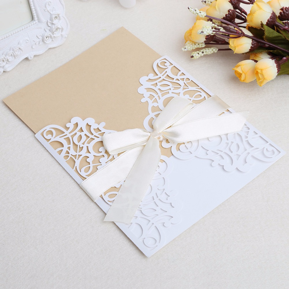 10Pcs Wedding Invitation Cards Kit with Envelopes Seals Personalized ...