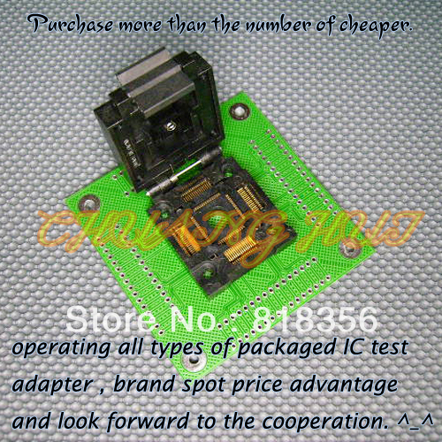 FPQ-64-0.65-04 Programmer Adapter FPQ64/QFP64 Adapter/IC SOCKET/IC Test Socket (Flip test seat) stud prototype expansion board red green black proto screw shield assembled