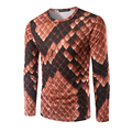 2016 New Arrival Men 3D T-Shirt Long Sleeve Autumn wear Men Printing Python skin Tee Shirt O Neck Design Top Tees