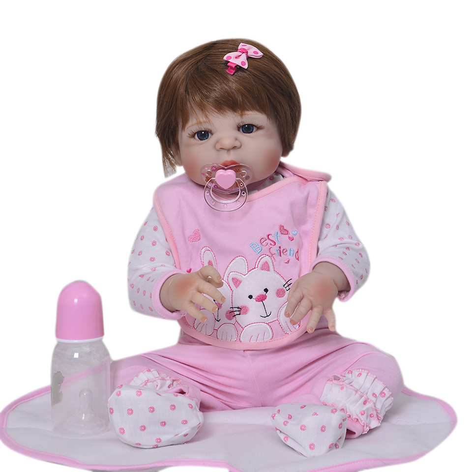 Image 4 - Lifelike Silicone Reborn Baby Menina  23'' Newborn Baby Dolls Full Vinyl body Wear bebe Infant Clothes Truly Kids Playmates-in Dolls from Toys & Hobbies