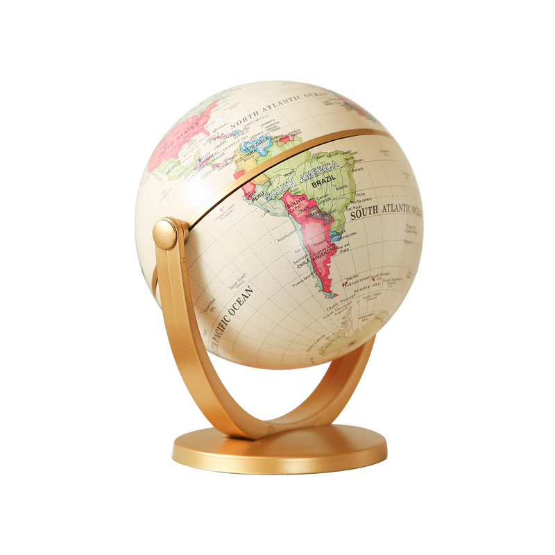 Geography Globe World Map Ornaments for Office Desk  Home Decor Craft  Gift for Friend Children Study  Retro Design English