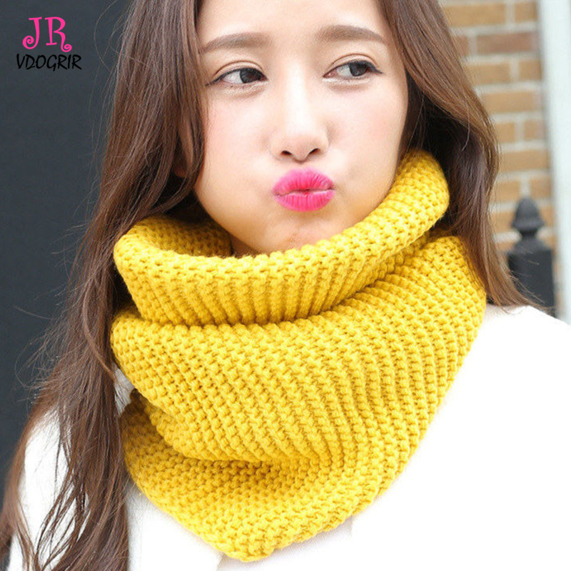ebb72918206cd VDOGRIR Yellow Warm Scarves for Women Fashion Knitted Neck Shawls Bandana  Women Winter Scarf Pashmina Wool