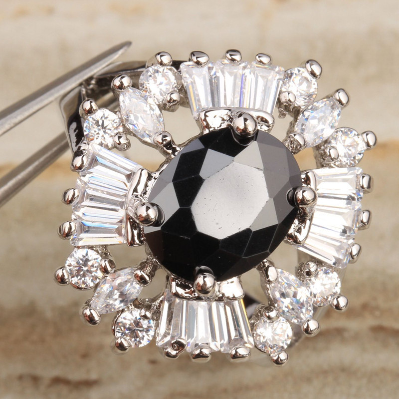 Black Gems White Zircon 925 Sterling Silver Jewelry Ring Size 6 / 7 / 8 / 9 S1393Black Gems White Zircon 925 Sterling Silver Jewelry Ring Size 6 / 7 / 8 / 9 S1393