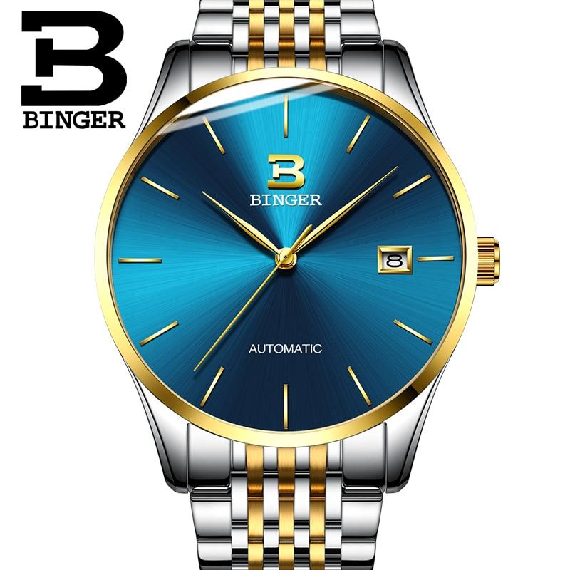 Szwajcarski zegarek Binger mężczyźni luksusowej marki zegarki męskie automatyczne mechaniczne męskie zegarki Sapphire relogio ruch japonii B5075M7 w Zegarki mechaniczne od Zegarki na  Grupa 3