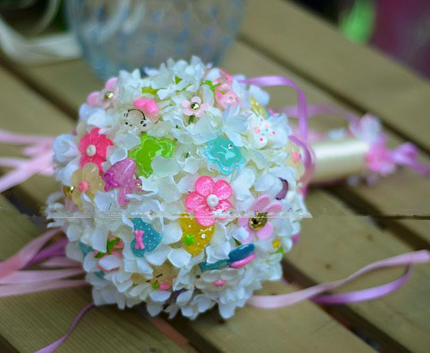 Lovely Hydrangea Simulation Silk Flowers Ribbons Cloth Flower Candy ...